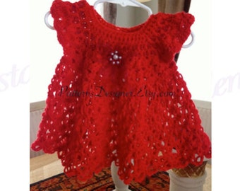 PT035 - 0-12 Months - Crochet Baby Dress Pattern, Baby Dress Pattern, Handmade Dress, Christmas Dress Pattern.