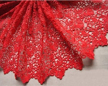 SALE Red lace fabric, bridal lace fabric , crochet lace fabric, double scalloped lace fabric, retro floral lace fabric, costume lace fabric