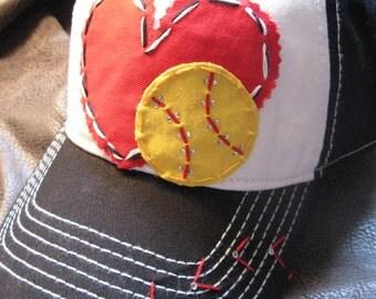 Softball Love Patchwork and Crystal Baseball Cap