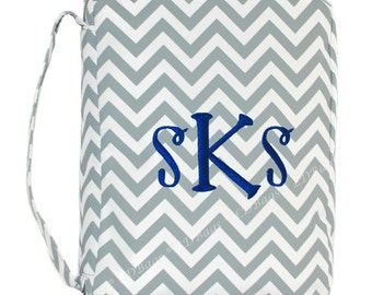 Bible Cover Gray Chevron Bible Holder with Free Embroidery