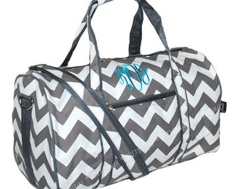 Personalized Grey Chevron 17.5 Duffle Bag | Monogram Overnight Duffel | Cheer | Bridesmaid Duffle | Dance | Gym Duffel | Girls Duffel Bag