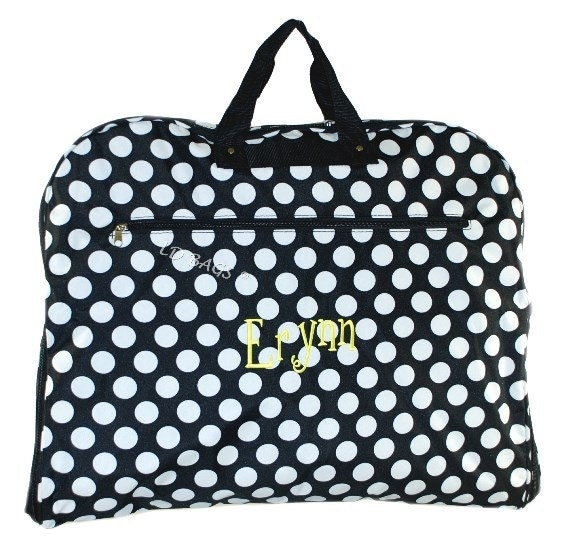Personalized Garment Bag Black And White Large Dot Travel