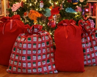 Christmas Gift Bags Holiday Apartment Windows Collection - 4 Cloth Bags