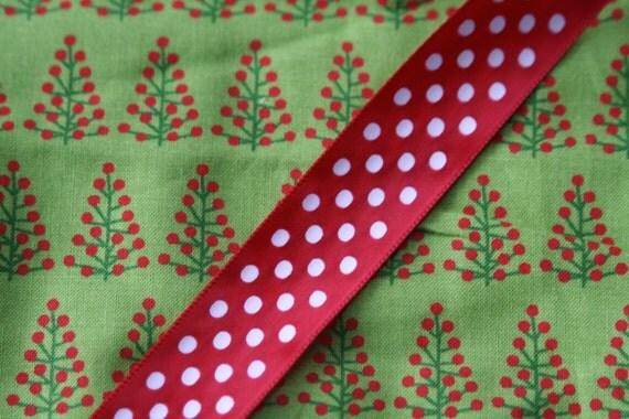 Polka Dot Christmas Tree Cotton Gift Bag With Red Polka