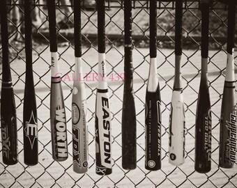 Vintage Baseball Portrait Boys Room Decor - Black White Photo - Baseball Bat - Coach Gift