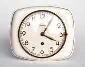 RESERVED FOR SARAH Ceramic Wall Clock by Junghans / Made in Germany / Wind Up Key Mechanical Mechanism  / Working Condition / White