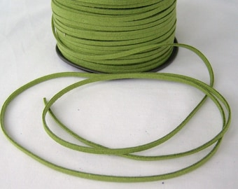 Olive Green Faux Suede Cord 20 Feet USA Seller