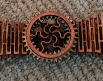 Wooden Bow Tie with moving gears