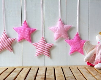 Pink star nursery decor, Baby wall hanging, Baby girl nursery decor, Baby  wall decor, Little girls room decor