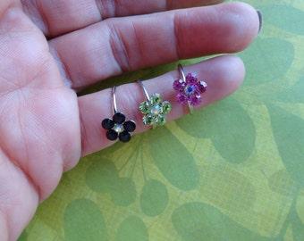 Flower crystal  toe rings- set of 2