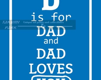 Wall Art For Nursery, 11x14 Baby Room Art Print, Photo Print, Art For Boys Room, Blue, Pink Art Print, D is for Dad and Dad Loves You
