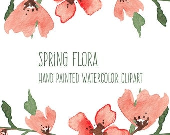 Spring Flora - Watercolor Flowers - Hand Painted Clip Art