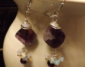 Genuine Amethyst and Ethiopian Opal Earrings in Sterling Silver