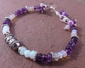 Ethiopian Opal and Amethyst Bracelet in Sterling and Tibetan Silver