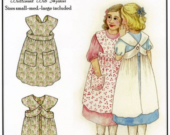 Girls' Buttoned Bib Apron sizes S-M-L (1-8)  Hint of History Sewing Pattern # 202 Easy to Sew