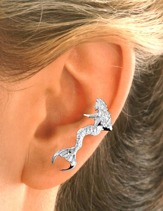 sitting mermaid ear cuff for left ear in sterling silver. Black Bedroom Furniture Sets. Home Design Ideas