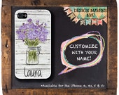 Personalized iPhone Case, Mason Jar iPhone Case with Monogram, Floral iPhone Case, iPhone 4, iPhone 5, iPhone 5s, iPhone 5c, iPhone 6