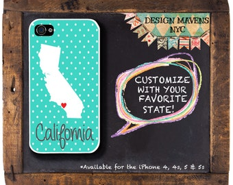 Personalized iPhone Case, State Love California iPhone Case, iPhone 4, iPhone 4s, iPhone 5, iPhone 5s, iPhone 5c, iPhone 6, Phone Cover