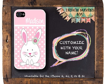 Easter Bunny iPhone Case, Personalized Polka Dot Monogram iPhone Case, iPhone 8, 8 Plus, 7, 7 Plus, iPhone 6, 6s, 6 Plus, SE, 5, 5s, 5c