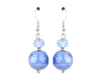 Periwinkle Glass Earrings- periwinkle, blue, glass, murano, murano glass, beaded, beads, venetian, lampwork, glass earrings, everyday, chic