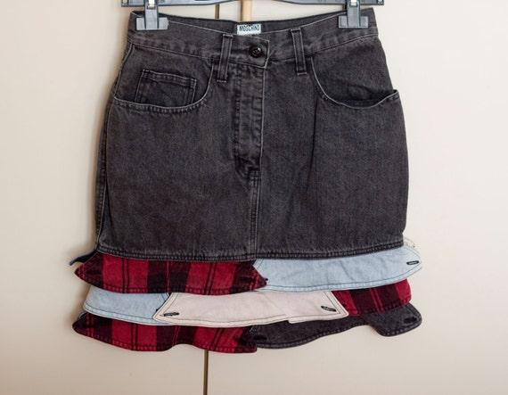 vintage moschino denim skirt designer skirt black d 233 lav 233