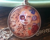 Persephone NECKLACE Beautifu, Death, Day of the Dead girl, pomegranets, Hades, Greek Myth, flowers, goddess, spring, by Rachel Walker