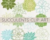 Instant Download Succulents Plants Clip Art - Printable Digital Wedding Clip Art PNGs -- Spring Summer Floral Nature Art
