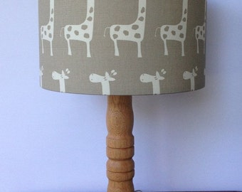 Lamp shade tropical giraffes bright drum lampshade giraffe medium giraffe drum lamp shade brownmaple with natural giraffes design nursery or mozeypictures Choice Image