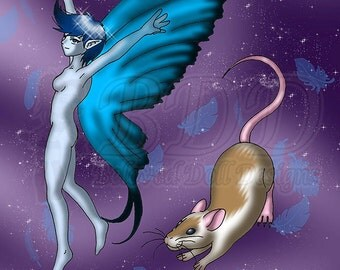 Anime Blue Fairy and Mouse Fantasy Print 5x7 and 8.5x11 #553 Whimsical Art