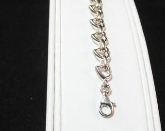 Vintage Sterling Silver Whimsical Heart Bracelet