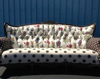 Custom Unique Upholstered Vintage Sofa Couch Tufted Upcycle