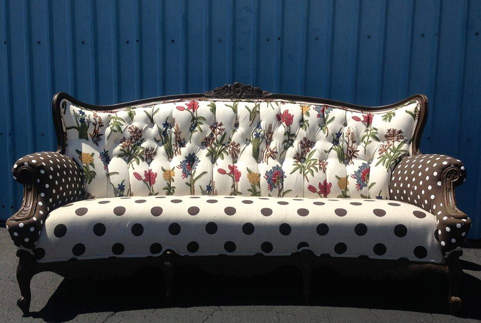 Custom unique upholstered vintage sofa couch tufted upcycle for Sofa upcycling