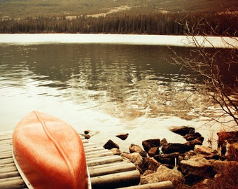 "Fine Art Photo - Title: ""Red Canoe"" - billi j miller photography - Jasper, Alberta, Canoe, Red, Rustic, Canadiana"