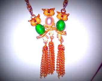 Hobe Three Owls Jelly Belly Necklace, Long Chain, Tassels, Signed