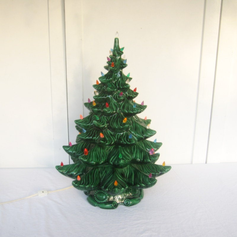 Large Christmas Tree: Large Green Vintage Ceramic Christmas Tree With Music Box