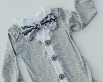 Grey Preppy Cardigan With Under Bodysuit Choose your Bow Tie Sizes NB,3mo, 6 mo,9mo, 12 mo, 18 mo, 24 mo