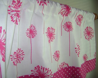 Girls Valance, Candy Pink Dandelion Valance, Hot Pink/White  Dandelion Valance, Girls Valance, Nursery Valance, Window Treatment
