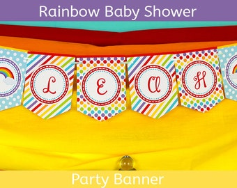 FREE SHIPPING Rainbow Party Banner | Rainbow Baby Shower Banner | Rainbow Baby Shower Party