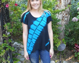 Tunic Top, Tie Dye, Tie Dye Top, Summer Tunics, Turquoise with Black, XS S M ONLY, Round Neck, Loose Sleeves, Clearance