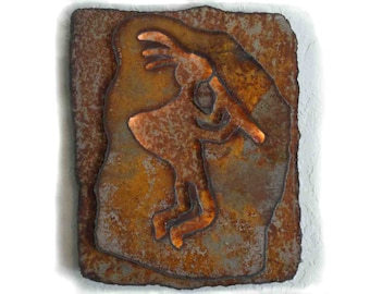 "Kokopelli made-to-order 13.5""x11"" lighted rustic sheet metal wall art with battery operated lighting on a timer"