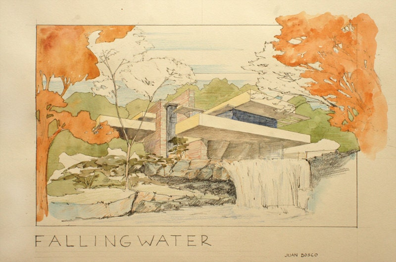 Print fallingwater house frank lloyd wright architecture for Printing architectural drawings