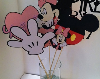 Minnie Mouse Center Piece, Birthday Partys, Disney themed, 5pc., Mickey Mouse friend