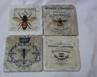 Bee coasters - Travertine drink coasters - Marble Coasters - Stone coasters - Bees - French Country Decor - Queen Bee coasters