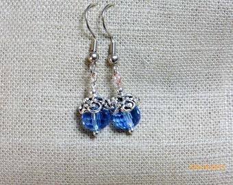 Blue Crystals Earrings - Wedding Earrings - bridesmaids earrings - Silver plated caps and beads - Dangle Earrings