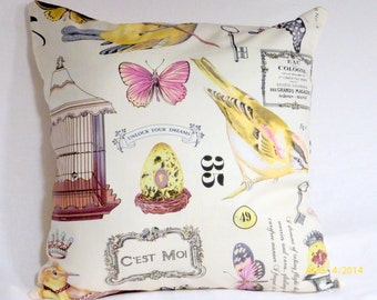 Decorative Pillow Covers  - Michael Miller Botanika - Paris Covers - Birds, butterflies - French Country - French Ads - Birdhouse - Crown