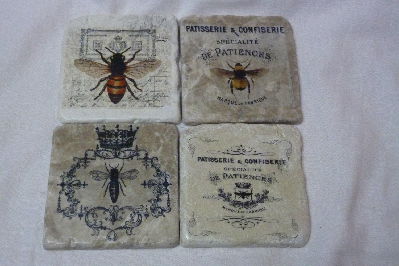 Bee Coasters Travertine Drink Coasters Marble Coasters