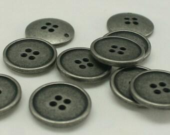 10 pcs 20mm Plastic Button Antique silver button Round Button Sweater Button Unique button Supplies 4 holes button - Annielov Button #57