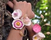 CUSTOM SET of 8 Paper Flower Napkin Rings - Gift Bag Decoration - Bracelet. For Wedding, Anniversary, Birthday Party, Business Events, Decor