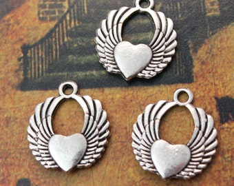 10 Winged Heart Charms Winged Heart Pendants Antiqued Silver Double Sided 20 x 22 mm
