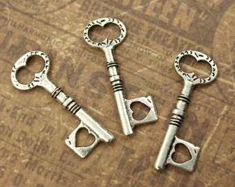 10 Key Charms Key Pendants Antique Silver tone Skeleton Keys Double Sided 33 mm/ 1-5/16 inch